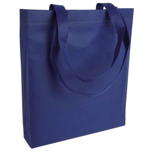 dark blue color non woven bag with long handles