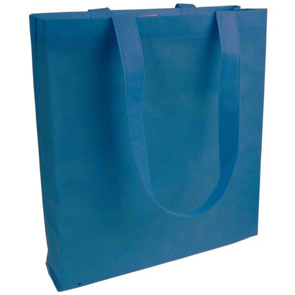 blue color non woven bag with long handles