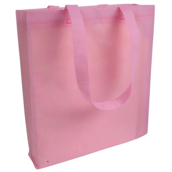 pink color non woven bag with long handles