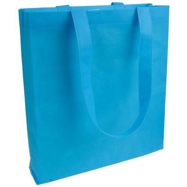 light blue clor non woven bag with long handles