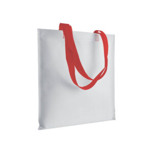 red color non woven bag with long handles