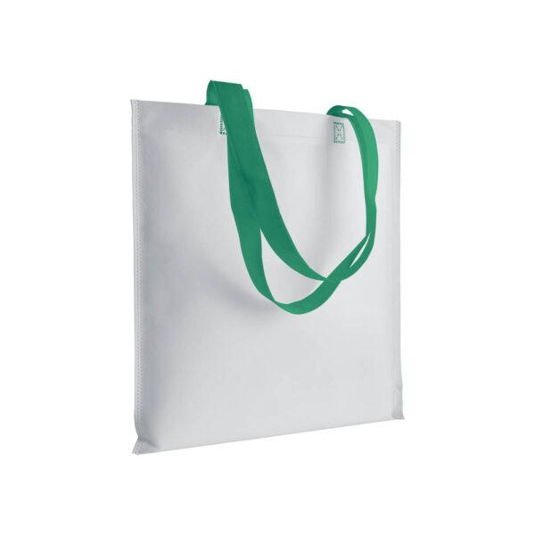 green color non woven bag with long handles
