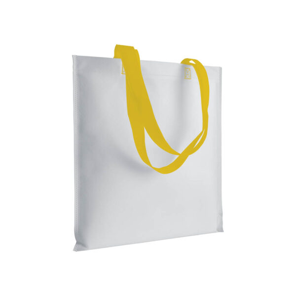 yellow color non woven bag with long handles