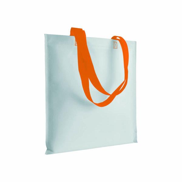 orange color non woven bag with long handles