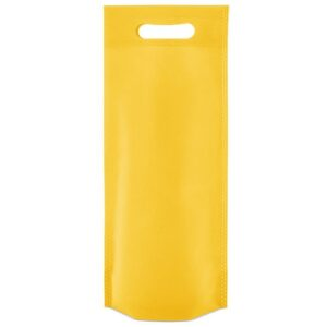 yellow color non woven bag with d cut handles