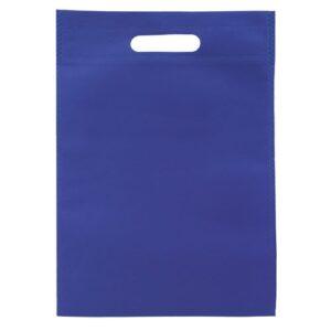 blue color non woven bag with d cut handles