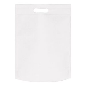 white color non woven bag with d cut handles