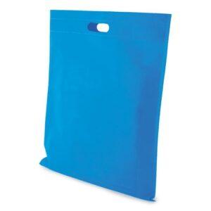 light blue clor non woven bag with d cut handles