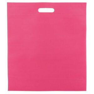 fuchsia color non woven bag with d cut handles