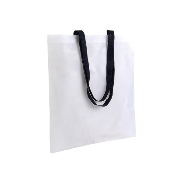 white color polyester bag with long black handles