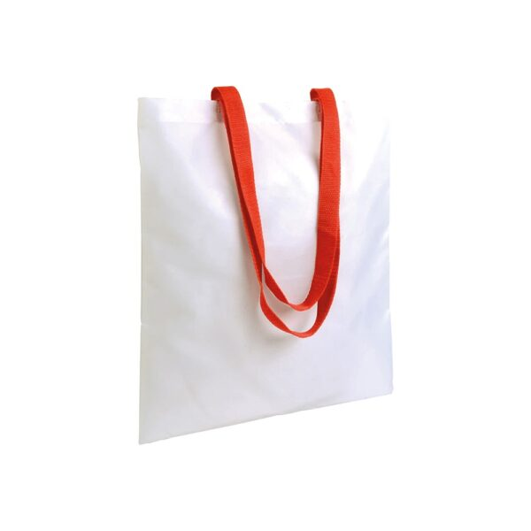white color polyester bag with long red handles