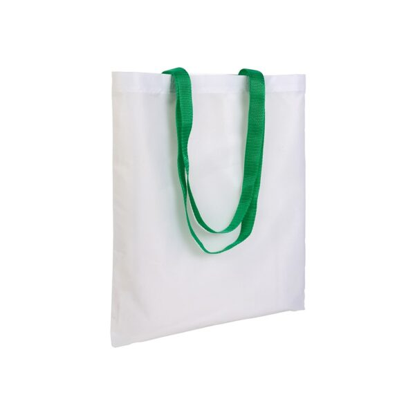 white color polyester bag with long green handles