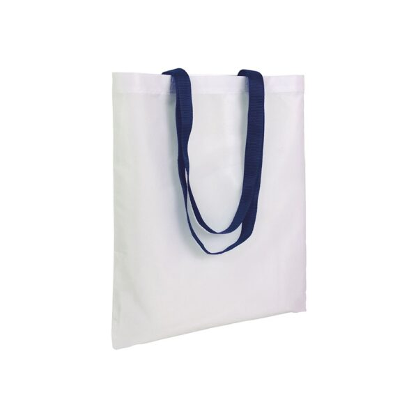 white color polyester bag with long dark blue handles