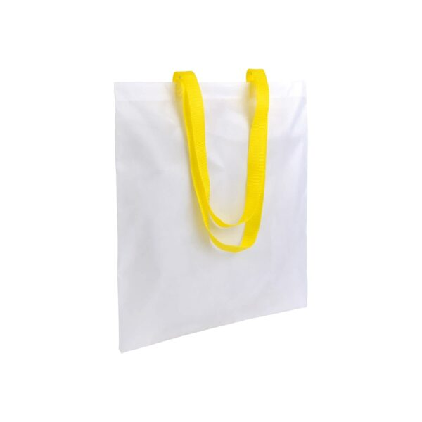 white color polyester bag with long yellow handles