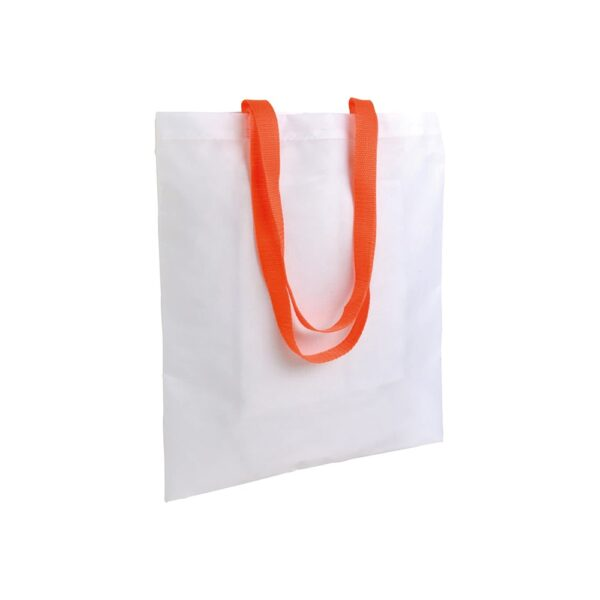 white color polyester bag with long orange handles