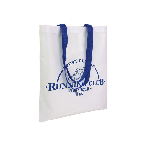 white color polyester bag with long blur handles