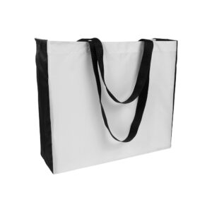 white color polyester bag with black gusset and long black handles