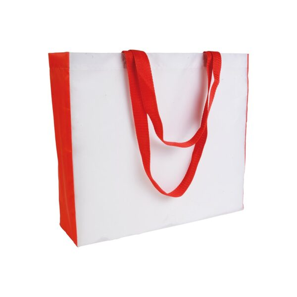white color polyester bag with red gusset and long red handles