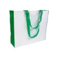 white color polyester bag with green gusset and long green handles
