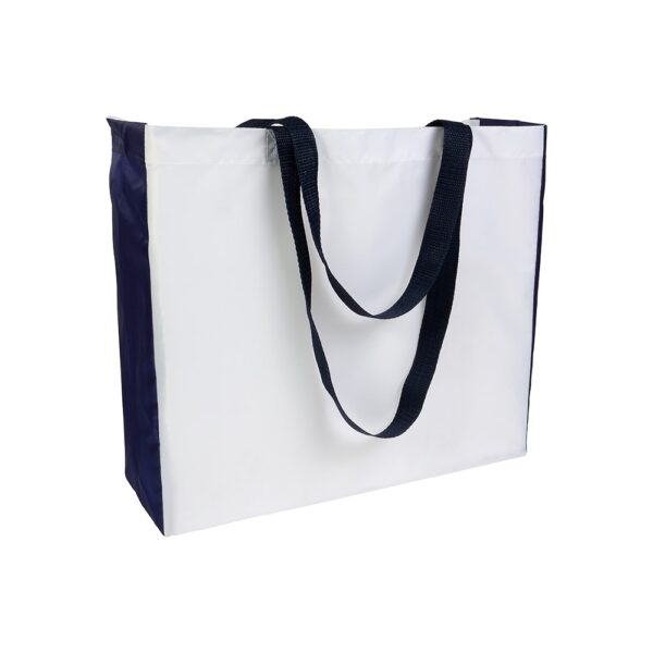 white color polyester bag with dark blue gusset and long dark blue handles