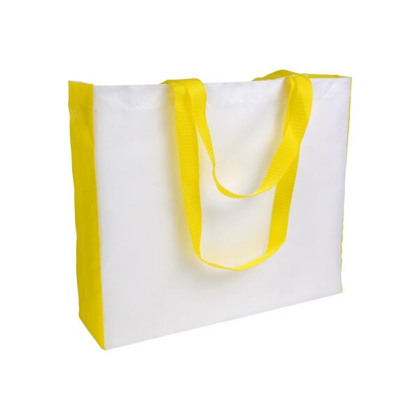 white color polyester bag with yellow gusset and long yellow handles
