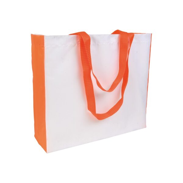 white color polyester bag with orange gusset and long orange handles