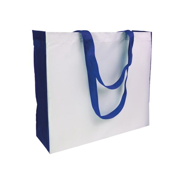 white color polyester bag with blue gusset and long blue handles