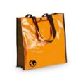 orange color pp woven bag with long handles