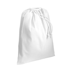 white color cotton pouch with two strings